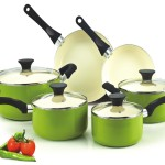 Cook N Home NC-00358 Nonstick Ceramic Coating 10-Piece Cookware Set, Green Reviews