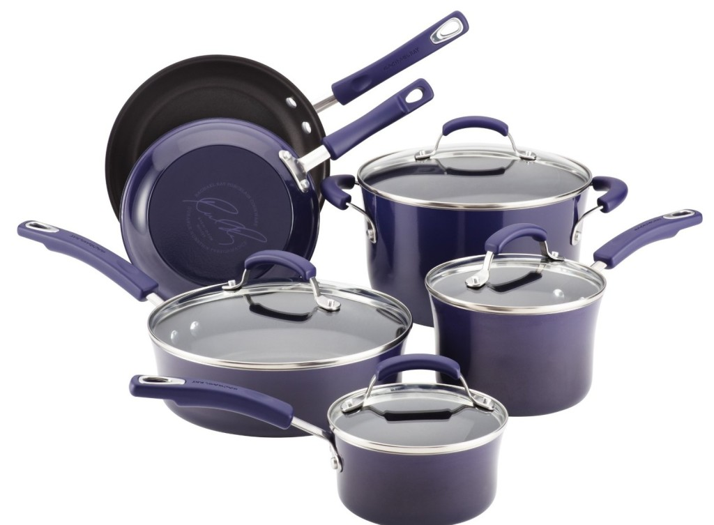 Rachael Ray Porcelain Enamel II Nonstick 10-Piece Cookware Set, Purple Gradient Reviews